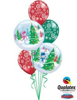 Bukiet 471 Festive Trees & Snowmen Qualatex #31851-2 60132-3