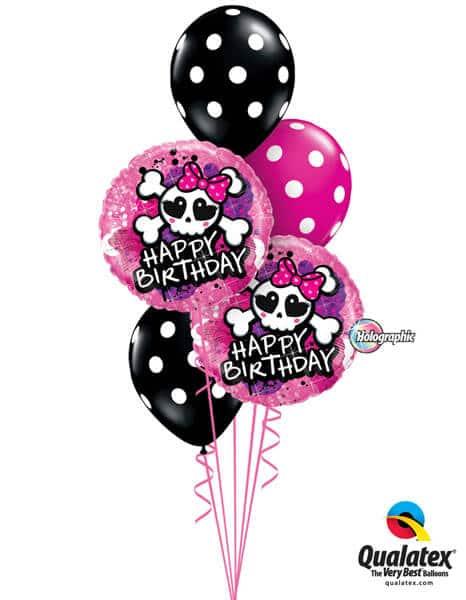 Bukiet 194 Birthday Skull Bow & Crossbones Qualatex #41588-2 14218-3