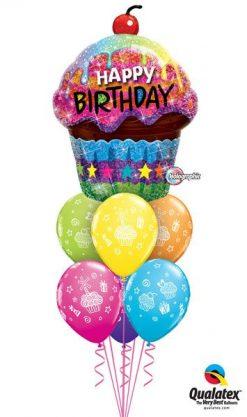 Bukiet 22 Birthday Dazzling Cupcake Qualatex #16085 31227-6
