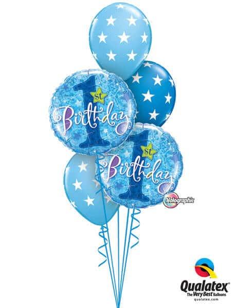 Bukiet 190 1st Birthday Stars Blue Qualatex #41592-2 18449-3