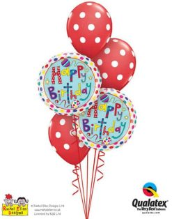 Bukiet 304 Rachel Ellen - Birthday Polka Dots & Stripes Qualatex #50404-2 18074-3