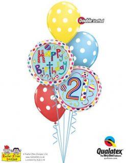Bukiet 302 Rachel Ellen - 21 Polka Dots & Stripes Qualatex #50337 50404 14248-3