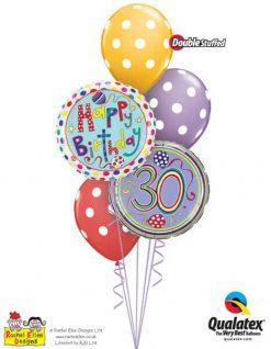 Bukiet 301 Rachel Ellen - 30 Polka Dots & Stripes Qualatex #50421 50404 14248-3