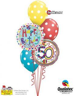 Bukiet 299 Rachel Ellen - 50 Polka Dots & Stripes Qualatex #50426 50404 14248-3