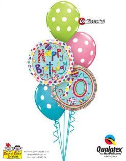 Bukiet 297 Rachel Ellen - 70 Polka Dots & Stripes Qualatex #50417 50404 14248-3