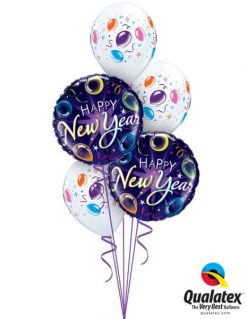 Bukiet 637 New Year Balloons Qualatex #40085-2 37503-3