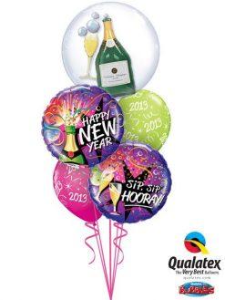 Bukiet 109 Double Bubble Bubbly Wine Bottle & Glass Qualatex #68810 40085-2 60136-2