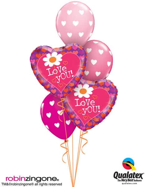 Bukiet 585 Mother's Day Big Hearts Qualatex #65192-2 27051-3