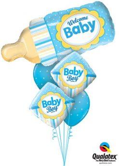 Bukiet 166 Welcome Baby Bottle Blue Qualatex #16472 14637-2 18466-2