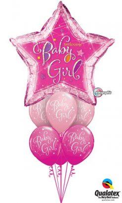 Bukiet 307 Welcome Baby Girl Stars Qualatex #16577 51814-6