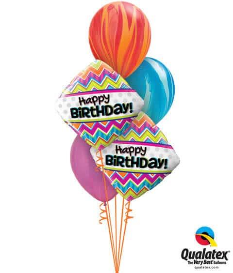 Bukiet 212 Birthday Chevron Patterns Qualatex #14687-2 91544-3