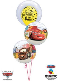 Bukiet 58 Deco Bubble Disney Pixar Lightning McQueen & Mater Qualatex #68825 18706 10185-2