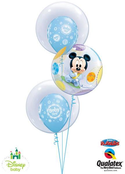 Bukiet 30 Deco Bubble Disney Baby Mickey Qualatex #16432 68825-2 17803-2