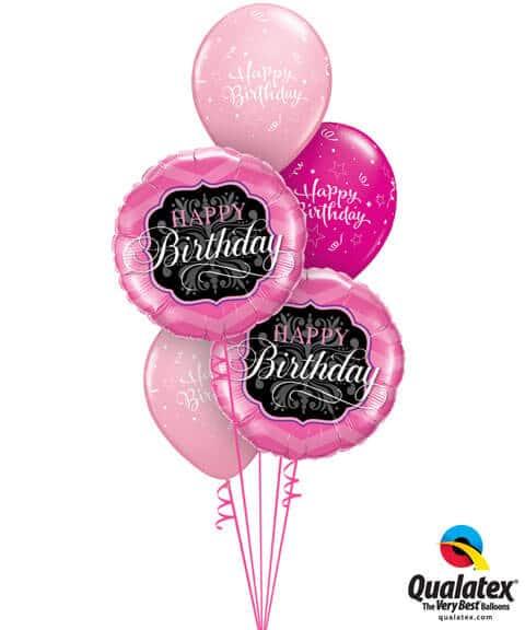Bukiet 213 Birthday Pink & Black Qualatex #16702-2 25588-3