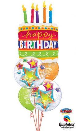 Bukiet 55 Birthday Cake & Candles Qualatex #17269 11962-2 18374-2
