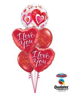 Bukiet 45 Red Hearts & Filigree Qualatex #33909 29133-2 40862-2