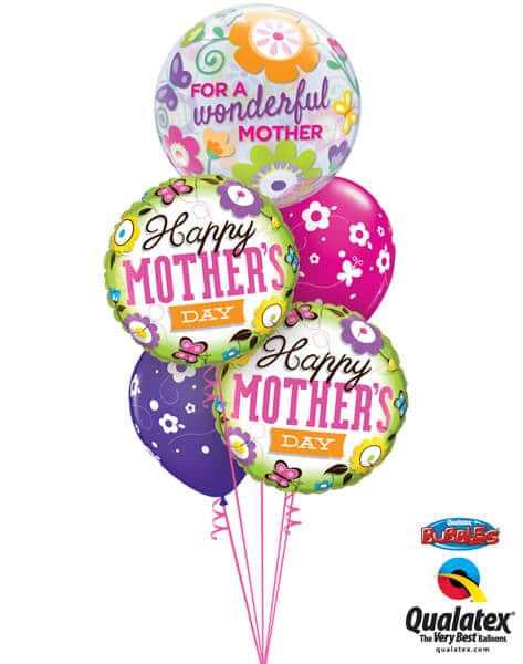 Bukiet 574 Happy Mother's Day Flowers & Butterflies Qualatex #11538 13228-2 85065-2