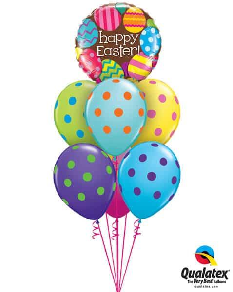 Bukiet 514 Happy Easter Big Polka Dots Qualatex #13243 10240-6