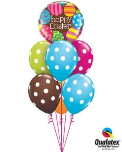 Bukiet 517 Happy Easter Big Polka Dots White Qualatex #13243 84651-6