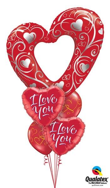 Bukiet 46 Hearts & Filigree Red Qualatex #16441 29133-2 40862-2