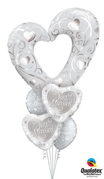Bukiet 157 Hearts & Filigree Pearl White Qualatex#16304 15816-2 19136-2