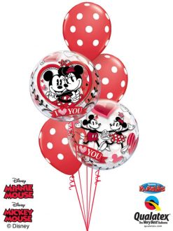 Bukiet 147 Disney Mickey & Minnie I Love You Qualatex #21892-2 29510-3