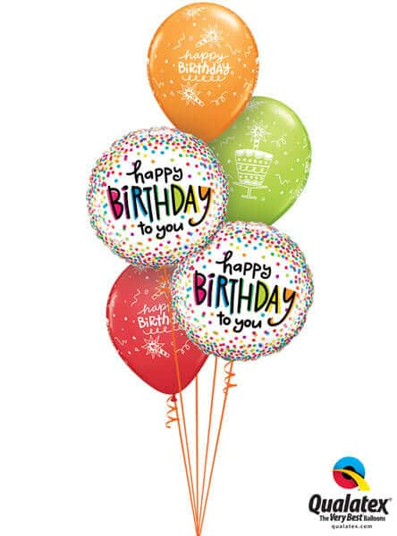Bukiet 327 Birthday Sprinkled Dots Qualatex #28126-2 43059-3