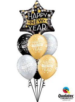Bukiet 112 New Year Confetti Dots Black Qualatex #19035 22741-6