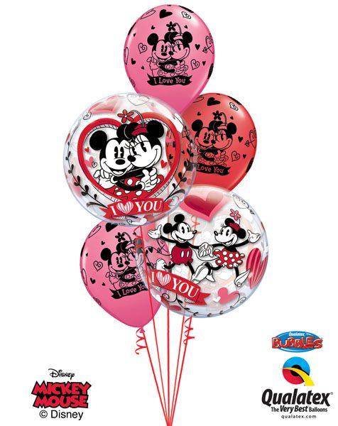Bukiet 146 Disney Mickey & Minnie I Love You Qualatex #21892-2 23186-3