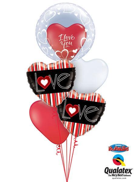 Bukiet 152 Deco Bubble Stylish Heart Qualatex #68825 29005 21698-2 24663 24019