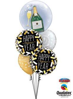 Bukiet 486 Double Bubble Bubbly Wine Bottle & Glass Qualatex #16269 43531-2 46512-2
