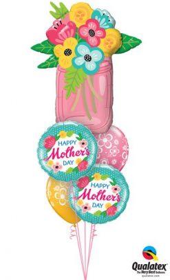 Bukiet 596 Mother's Day Mason Jar Qualatex #47583 47380-2 48370-2