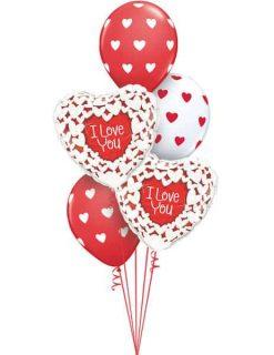Bukiet 506 I Love Glitter Hearts Qualatex #34813-2 76928-3
