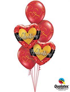 Bukiet 508 Valentine Burnished Heart Gold Qualatex #46076-2 40862-3