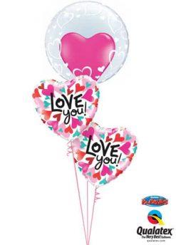 Bukiet 499 Deco Bubble - Stylish Hearts Qualatex #29505 46070-2