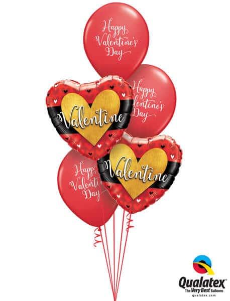 Bukiet 496 Valentine Burnished Heart Gold Qualatex #46076-2 48206-3