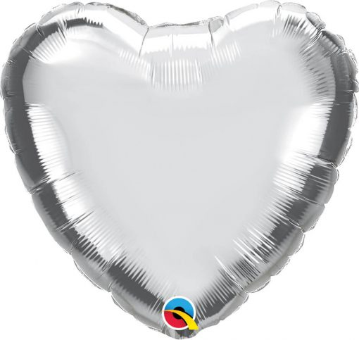 "18"" / 46cm Solid Colour Heart Metallic Silver Qualatex #99600"
