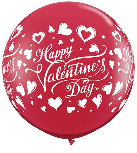 3' / 91cm Valentine's Classic Hearts Ruby Red Qualatex #23183-1