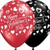 "11"" / 28cm Valentine's Classic Hearts Asst Onyx Black & Ruby Red Qualatex #23185-1"