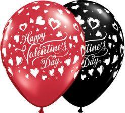 "11"" / 28cm Valentine's Classic Hearts Asst Onyx Black & Ruby Red Qualatex #23185-1"