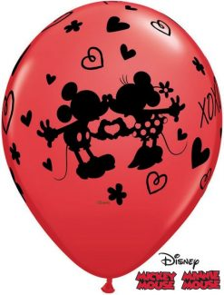 "11"" / 28cm Mickey & Minnie XOXO Asst Red & Rose Qualatex #23187-1"