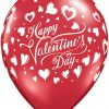 "11"" / 28cm 6szt Valentine's Classic Hearts Qualatex #23407"
