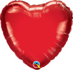 """18"""" / 46cm Solid Colour Heart Ruby Red Qualatex #99594"""