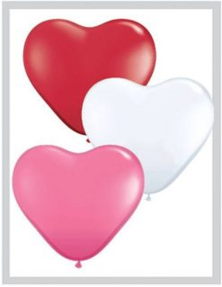 "6"" / 15cm Solid Colour Heart Latex Love Assortment Qualatex #47949-1"