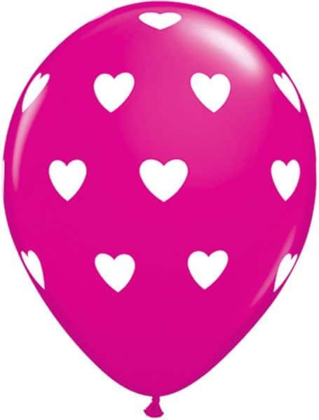 "11"" / 28cm Big Hearts Asst Pink & Wild Berry Qualatex #27051-1"