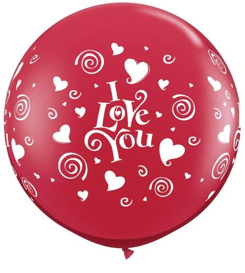3' / 91cm I Love You Swirling Hearts Ruby Red Qualatex #28188-1