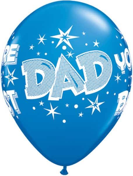 "11"" / 28cm 6szt Dad You're The Best Starbursts Qualatex #28235"