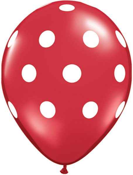 "11"" / 28cm Big Polka Dots Red w/White Ink Qualatex #29510-1"