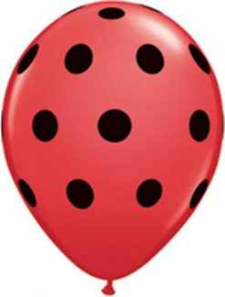 "11"" / 28cm Big Polka Dots Red w Black Ink Qualatex #29511-1"