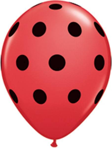 """11"""" / 28cm Big Polka Dots Red w Black Ink Qualatex #29511-1"""